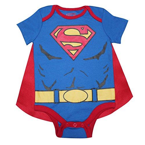 2 PCS SET Baby Boys SUPERMAN One-Piece Romper with Removable Cape 0/6M Multicolor