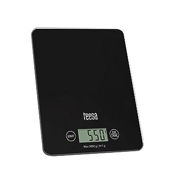 Teesa tsa0804 Báscula de cocina digital con gran pantalla LCD, 4 G/5 kg, Color negro: Amazon.es: Hogar