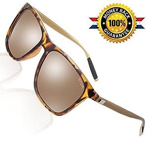 Sunglasses for Men Retro Wayfarer Womens Polarized Uv Protection Mirrored Brown Lens Driving Sun Glasses