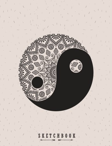 sketchbook: Yin and yang on grey cover (8.5 x 11)  inches 110 pages, Blank Unlined Paper for Sketching, Drawing , Whiting , Journaling & Doodling (Yin and yang on grey sketchbook) (Volume 2) ()