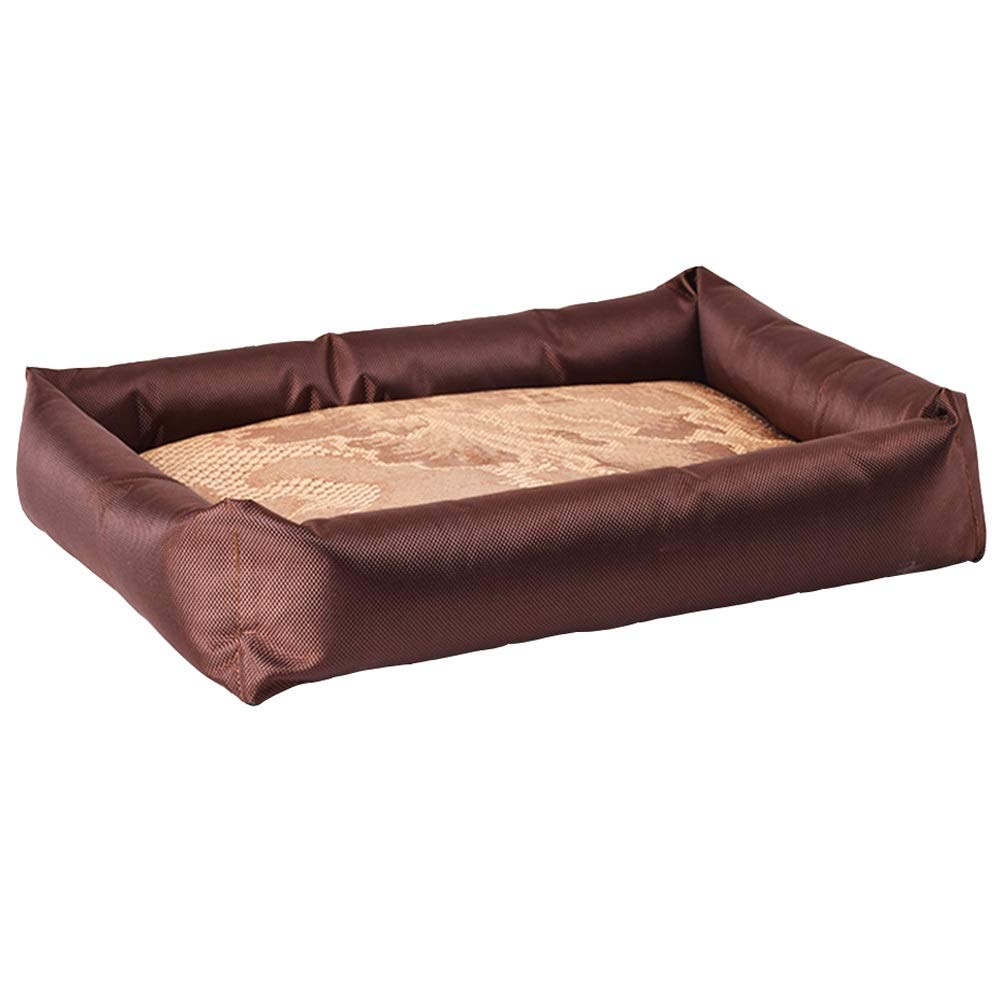 Brown 75x57x7cm Brown 75x57x7cm ZWYGXL Kennel Summer Comfortable Soft Breathable Waterproof Moisture Proof Cool nest Small and Medium Dogs Mat Toiletries Multiple Colour (color   Brown, Size   75x57x7cm)