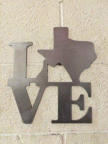 Love Texas State sign steel metal wall art decor