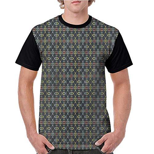(crabee Shirts,Geometric,Beveled Square Forms Tile S-XXL Print Short Sleeve Baseball Ladies Tee)