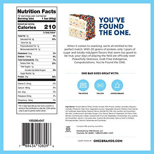 Amazon ONE Protein Bars Birthday Cake Gluten Free With 20g And Only 1g Sugar Guilt Snacking For High Diets