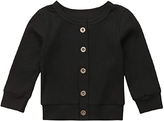 1-6Y Unisex Toddler Top Long Sleeve Button Down Coat Knitted Sweater Simple Cardigan Color : Black, Size : 1-2Y
