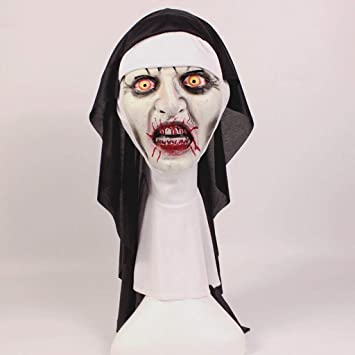 Máscara De Monja Halloween Horror Maquillaje Máscara Tricky Mueca Miedo Scary Latex Headgear