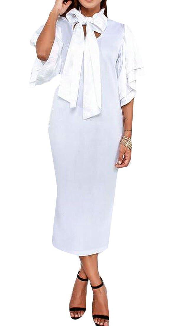 MOUTEN Women Solid Color Bow Tie Short Sleeve Bodycon Cocktail Party Pencil Midi Dress