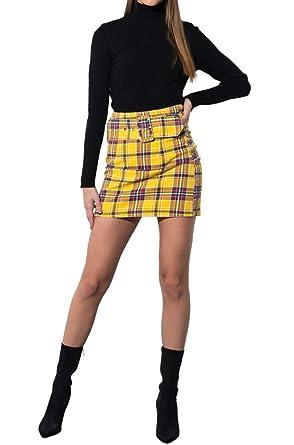 ed98fad5519 AKIRA Women s Denim Belted Yellow Plaid Cher Clueless Mini Skirt at Amazon  Women s Clothing store
