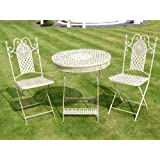 white iron patio furniture. Plain Patio Antique White Wrought Iron 3 Piece Bistro Style Garden Patio Furniture Set Inside