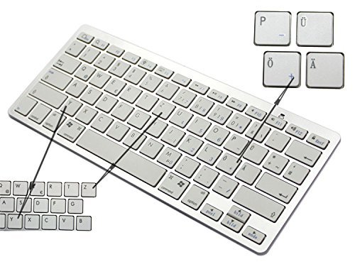 BORIYUAN Ultra dünn Bluetooth 3.0 Wireless Tastatur(Qwertz) Kabellose Deutsche Keyboard für IPad, iPhone, Samsung Galaxy Tab, Galaxy Note, Smartphones. Kompatibel mit allen iOS, Android, Mac, und Windows Geräten. Weiß