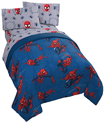 Jay Franco Marvel Spiderman Spidey Crawl 5 Piece Full Bed Set - Includes Reversible Comforter & Sheet Set - Super Soft Fade Resistant Polyester - (Official Marvel Product)...