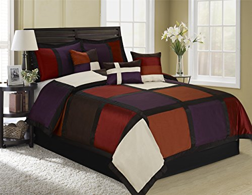 (Holiday Season Special Offers - 7 Piece Purple Red White Comforter Set Queen king Size - Handmade Decent Fashionable Patchwork Design Bed In A Bag (Purple, Queen))