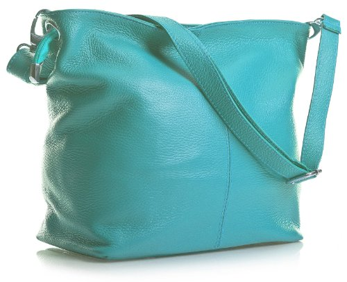 Genuine With Cross Body Cotton Italian Size Like Handbag Shoulder Grained Bag Medium Soft Lining Hobo Leather Turquoise Slouch PPWr7