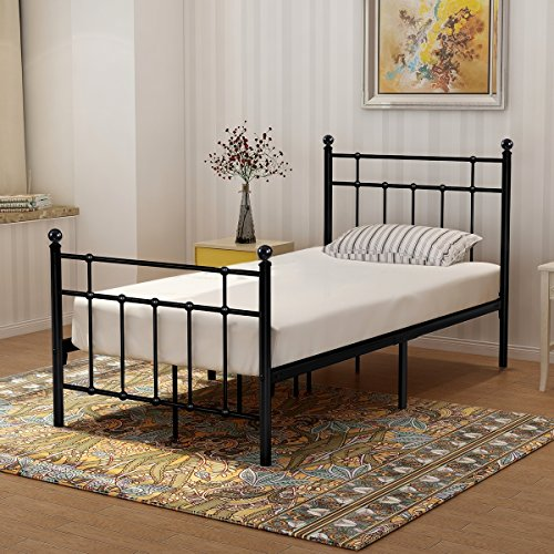 BUFF HOME Metal Bed Frame with Headboard and Footboard Slat Platform Mattress Foundation Double beds Box Spring No Assembly Replacement for Kids Adult Victorian Style Black Twin ()