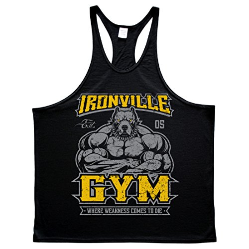 Ironville Gym Pitbull - Where Weakness Comes to Die Bodybuilding Stringer Tank (Large, Black)