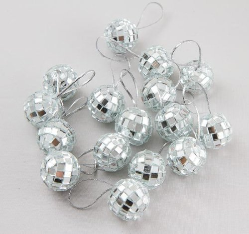 Klicnow 24 pcs 1.8 Inch Disco Ball Mirror Party Christmas Xmas Tree Ornament Decoration with Ellami Fastening Strap]()