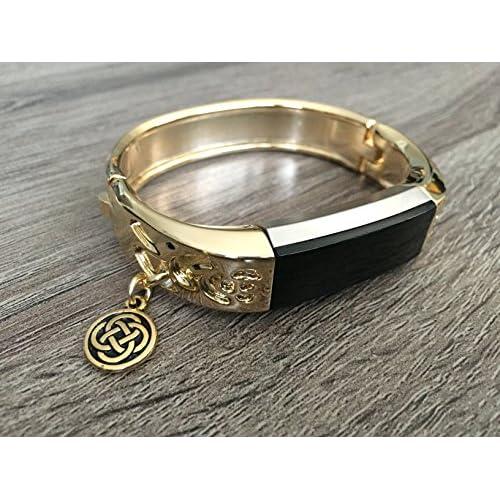Métal Doré Band pour Fitbit Alta et Alta HR Fitness tracker d'activité Motif de fleurs Bijoux Fitbit Alta/Alta HR Bracelet avec Doré Nœud celtique Charm accessoire de bracelet