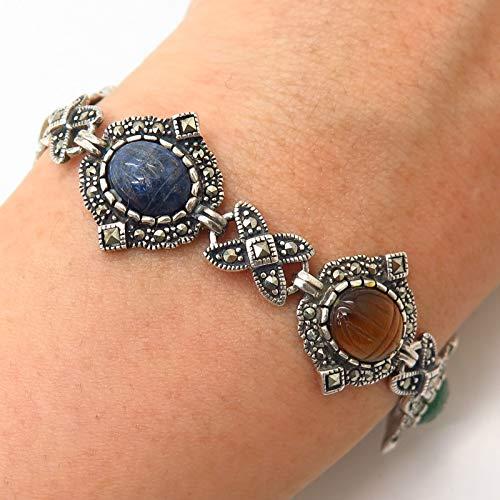 - 925 Sterling Silver Vintage Scarab Carved Multi-Color Gemstone Link Bracelet 7