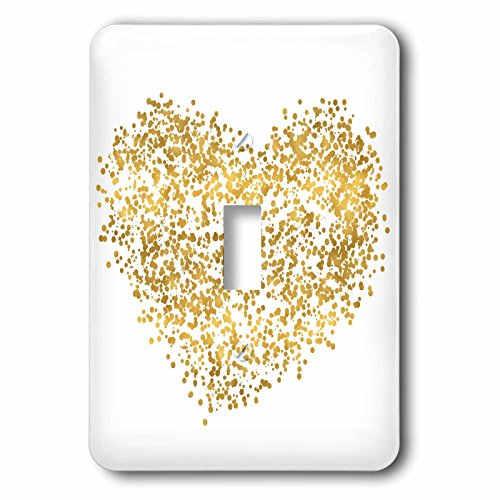 3dRose (1) Single Toggle Switch (lsp_271089_1) Picturing Gold Confetti Dotted Heart -