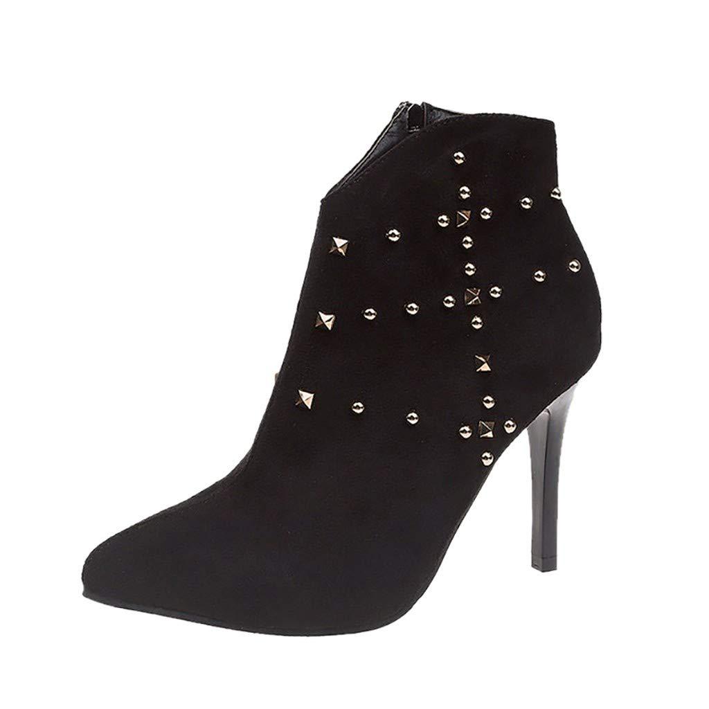 JJHAEVDY Women's Boots Rivets Stiletto Ankle Boot Pointed Toe Leather Shoes Fashion V-Cut Zipper Dress Short Bootie by JJHAEVDY