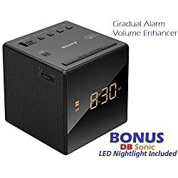 Sony Gradual Alarm Clock with AM/FM Radio, Sleep Timer, Extendable Snooze, Radio or Buzzer Alarm Sound, Gradual Alarm Volume Enhancer, Large LCD Display, Brightness Control, 3 Built-in Speaker & Battery Back-Up - Black - Sleek Modern Design *BONUS* DB