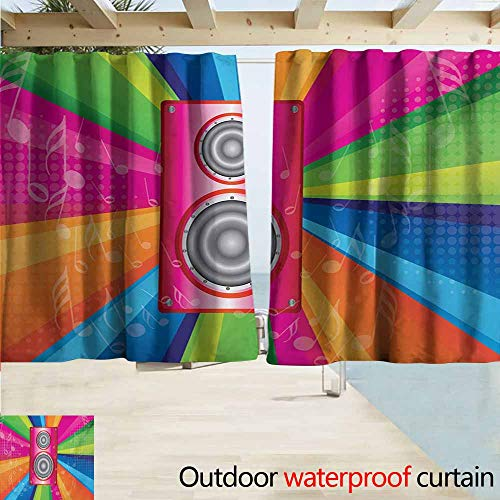 AndyTours Rod Pocket Curtains,Vintage Rainbow Discotheque Pop Party of The 60s 70s Theme Musical Notes and Pink Stereo,Energy Efficient, Darkening,W72x72L Inches,Multicolor