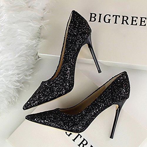 Yukun Boda De Tacón Boda De De Femeninos Aguja Cristal Black zapatos Acentuados Zapatos alto De tacón de Novia De Plata De De Dama De De Zapatos Zapatos La Zapatos Honor rwrqYv1x