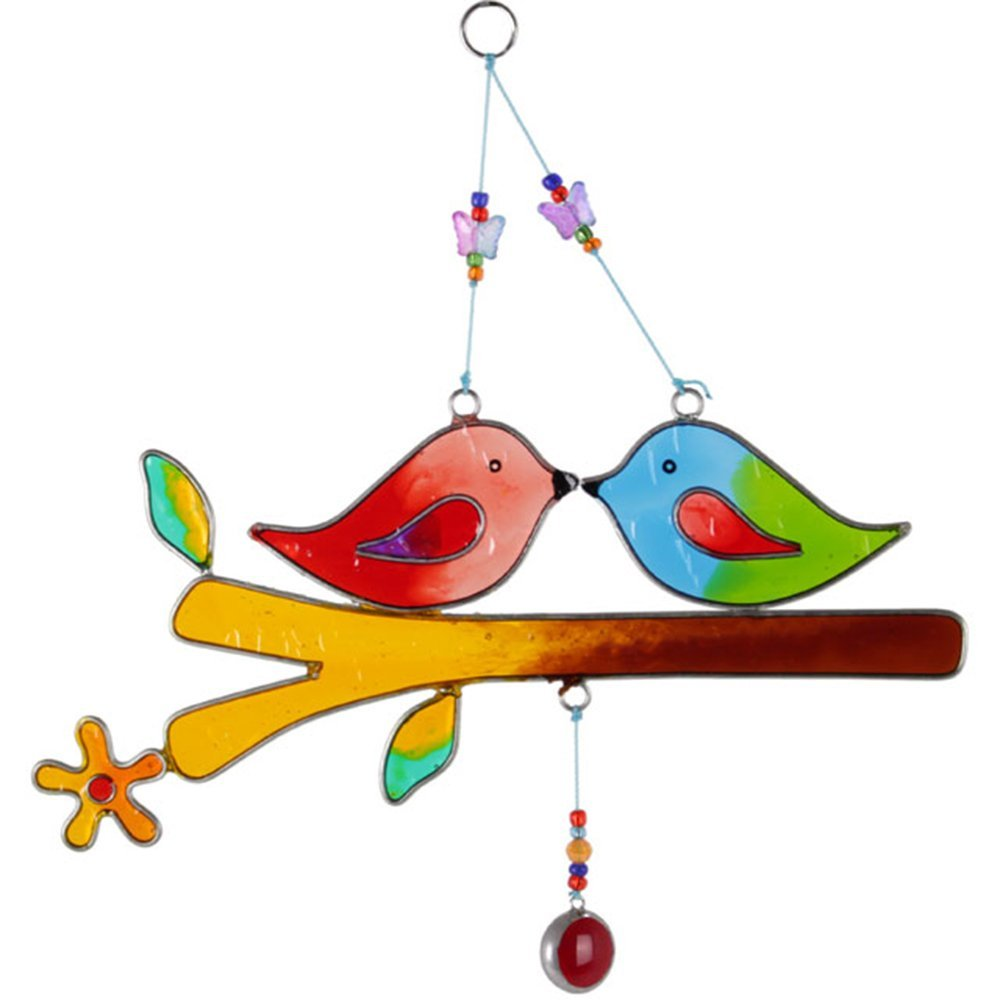 Love Birds Multi Color Glass Effect Resin Hanging Sun Catcher