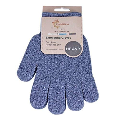 EvridWear Exfoliating Dual Texture Bath Gloves for Shower, Spa, Massage and Body Scrubs, Dead Skin Cell Remover, Gloves with hanging loop (1 Pair Heavy Glove)