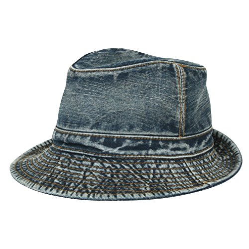 ililily Vintage Washed Denim Cotton Classic Structured Fedora Hat (fedora-513-4)