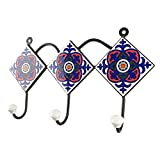 IndianShelf Handmade Ceramic Blue Floral Tile Towel Hooks/Holder/Hanger 1 Piece (HK-1460)