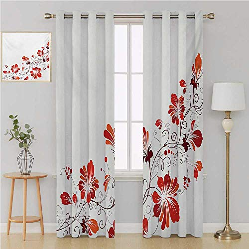 Benmo House Chinese grommit Curtain Kid Blackout Curtains,Chinese Traditional Purity Symbol Blossoms with Curved Lace Like Branch and Leaves Wall Curtain 96 by 108 Inch Red White