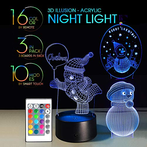 3 in 1 3D Night Light Remote Control with 7 Colors Display Optical Illusion Nursery Lamp Birthday Gift X'Mas Creative Lights Touch Button (Snowman 3IN1)