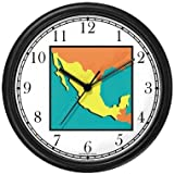 Map of Mexico - Mexico or Mexican Theme Wall Clock by WatchBuddy Timepieces (Hunter Green Frame)