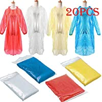 Disposable Rain Ponchos,Amiley 20Pcs Disposable Adult Emergency Waterproof Dustproof Protective for Men Women Rain Coat Poncho Hiking Camping with Hood (multicolor)