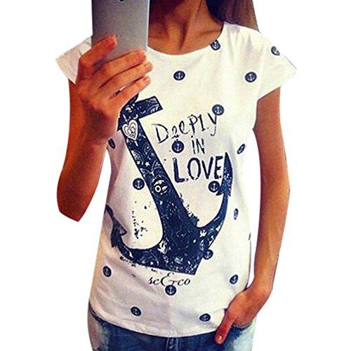 ISSHE Oversize T Shirt mit Aufdruck Damen Anker Print Rundhals T Shirts  Kurzarm Frauen Sommer Lockere 1d3e1579c6