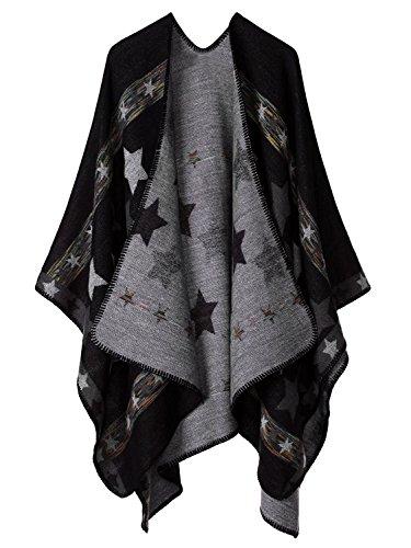 Womens Reversible Oversized Blanket Poncho Cape Shawl Cardigans (One Size, Stars/Black)