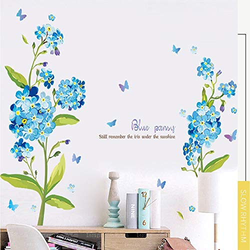 DERUN TRADING Wall Sticker Flowers Wall Decals Floral Stickers Floral Wall Decor DIY Butterfly Flower Art Decor Murals for Living Room TV Background Kids Gilrs Room