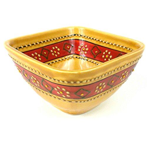 Hand Painted Square Bowl (Hand-painted Square Bowl in Honey - Encantada Pottery-Fair Trade Handmade)