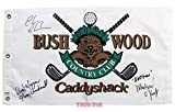 #8: Chevy Chase, Michael O'Keefe & Cindy Morgan Signed Autographed Caddyshack Bushwood Golf Flag Inscribed Lacey Underall & Noonan PSA/DNA COA