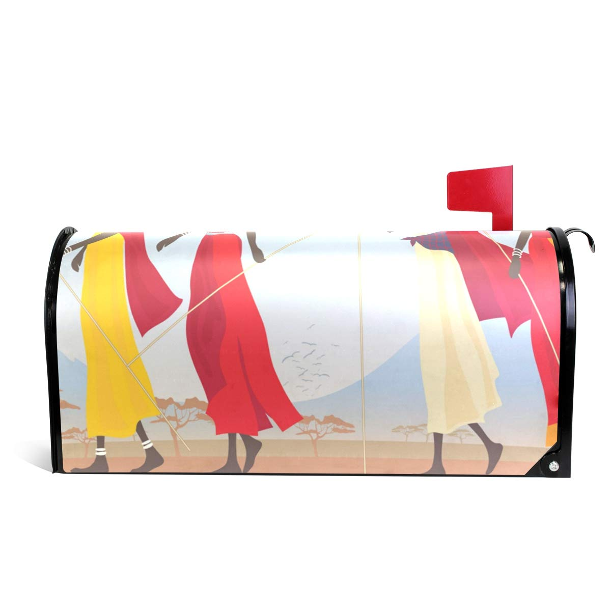 DEYYA African Women in Mountain Landscape Magnetic Mailbox Covers and Wraps Personalized Decorative Standard Size 52.6x45.8cm