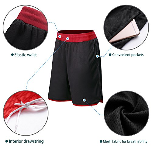 cf8b7cbe77d47 Witkey Men's Long Mesh Shorts with Pockets for Basketball Running Workout