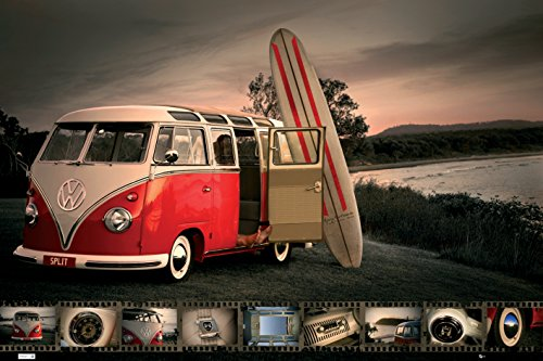 VW Volkwagen Kombi Van with Surfboard Vintage Car Photography Hobby Poster Print 24x36