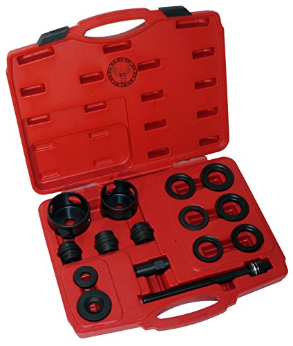 15 Piece Wheel Bearing Puller - Removal and Installation Tool - 15pc Universal Front Wheel Drive Bearing Removal Adapter Puller Tool Kit Set - Front Wheel Hub Bearing Assembly Removal Tools Front Fork Bearing