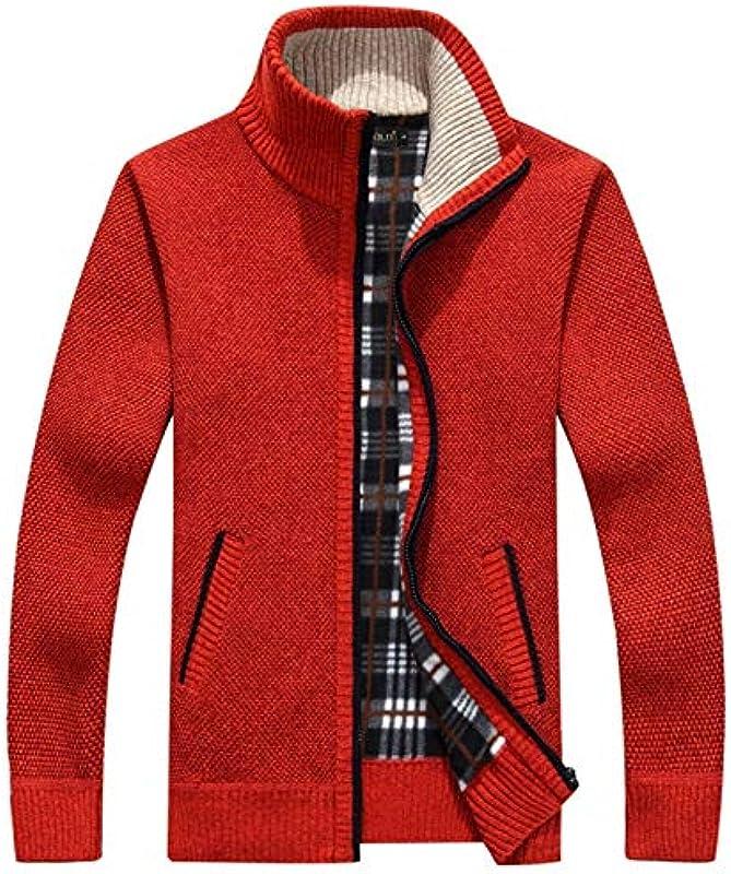 LLTT Winter Thick Męskie Strickpullover Mantel Off White Langarm-Cardigan Full Zip Männlich Kleidung Herbst (Color : Red, Size : XX-Large): Küche & Haushalt