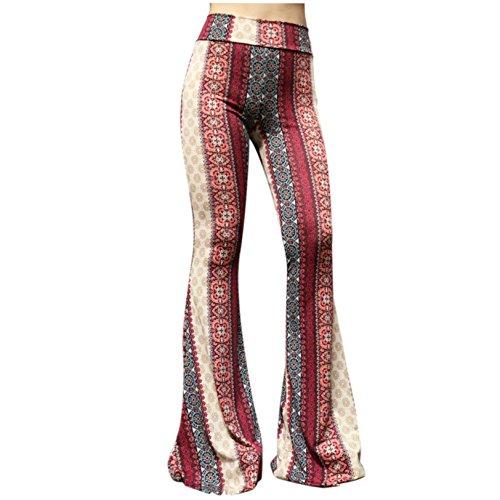ShopMyTrend SMT Women's High Waist Wide Leg Long Bell Bottom Yoga Pants Small Boho Wine