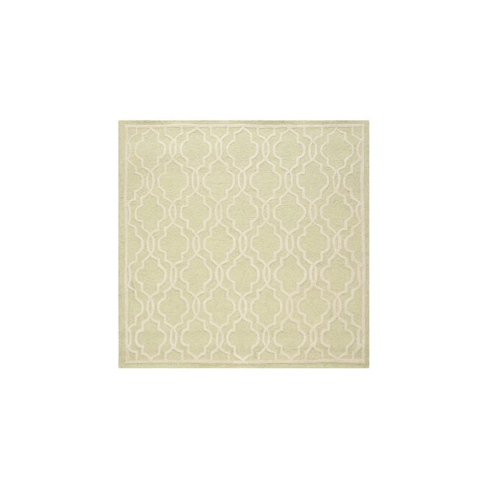 Safavieh Cambridge Collection CAM131B Handmade Moroccan Geometric Light Green and Ivory Premium Wool Square Area Rug (6 Square)