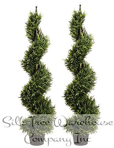 (Silk Tree Warehouse Company Inc Two 4 Foot Outdoor Artificial Rosemary Spiral Topiary Trees UV Rated Plants)