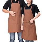 2 Pack Adjustable Bib Apron with Pocket, Coffee Shop, Kitchen, Bar, Bakery, Hotel, Durable Apron for Women Men (Light coffee)