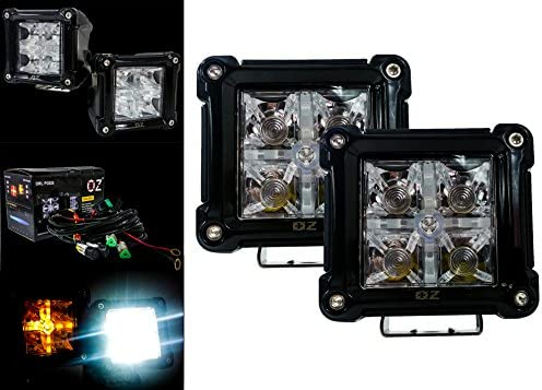 Pair 3inch Square LED Work Light for Motorcycle DRL Offroad Car Boat Truck 4WD